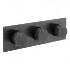 Bateria prysznicowa termostatyczna, podtynkowa, pozioma, 3-drożna - INDIVIDUAL by VADO - IND-T128/3-H-BLKK - Czarny Szczotkowany (matowy)