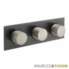 Bateria prysznicowa termostatyczna 3-drożna - Individual Knurled X Fusion - IND-T128/3-H-XBNK - Czarny Szczotkowany & Nikiel Szczotkowany