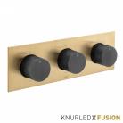 Bateria prysznicowa termostatyczna 3-drożna - Individual Knurled X Fusion - IND-T128/3-H-XGBK - Złoto Szczotkowane & Czarny Szczotkowany