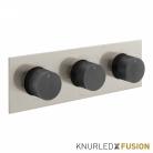 Bateria prysznicowa termostatyczna 3-drożna - Individual Knurled X Fusion - IND-T128/3-H-XNBK - Nikiel Szczotkowany & Czarny Szczotkowany