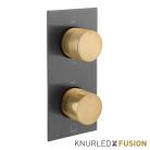 Bateria prysznicowa termostatyczna 2-drożna - Individual Knurled X Fusion - IND-T148/2-XBGK - Czarny Szczotkowany & Złoto Szczotkowane
