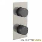 Bateria prysznicowa termostatyczna 2-drożna - Individual Knurled X Fusion - IND-T148/2-XNBK - Nikiel Szczotkowany & Czarny Szczotkowany